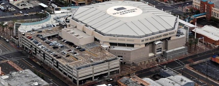 Jan. 27, 2010; Phoenix, AZ, USA; Aerial view of the US Airways Center in downtown Phoenix, the home of the Phoenix Suns basketball team. Mandatory Credit: Mark J. Rebilas-US PRESSWIRE