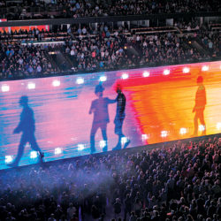 "Mandatory Credit: Photo by Rob Grabowski/Invision/AP/REX/Shutterstock (9689989l) Bono, Adam Clayton, Larry Mullen Jr., The Edge. U2 perform during the ""Experience + Innocence"" tour at the United Center, in Chicago U2 in Concert - , Chicago, USA - 22 May 2018"