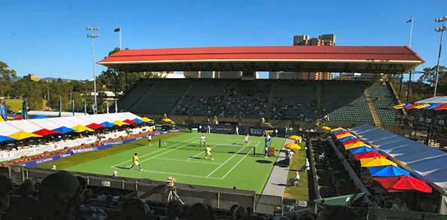 ADELAIDE - JANUARY 4: A general view of Memorial Drive centre court during the Max Mirnyi, Jeff Morrison versus Andrew Florent and Ivan Ljubicic doubles match, during the AAPT Championships played at Memorial Drive, Adelaide, Australia on January 4, 2003. (Photo by Mark Dadswell/Getty Images)